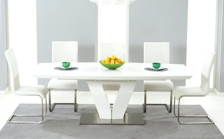 White High Gloss Dining Table Mark Round Extending – Yourlegacy With Regard To Round High Gloss Dining Tables (Image 25 of 25)