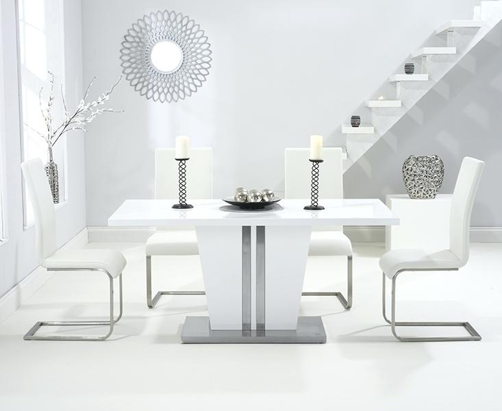 White High Gloss Dining Table Modern Great White Glass Dining Table Throughout White Gloss Dining Tables 140Cm (Image 25 of 25)