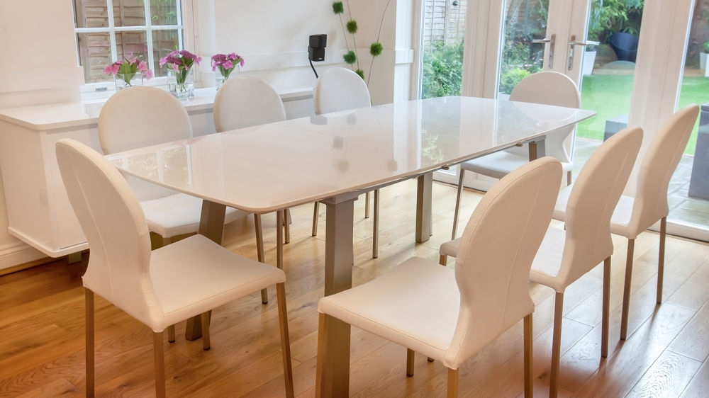 White High Gloss Extending Dining Set | Grey Or White Round Back Chairs Regarding White High Gloss Dining Chairs (Image 25 of 25)