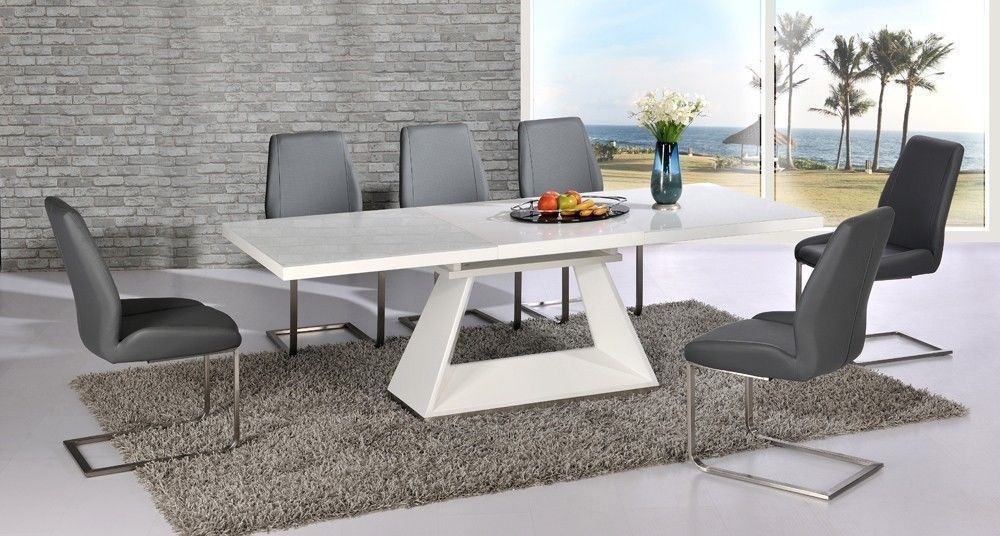 White High Gloss Extending Dining Table And 8 Grey Chairs Set With Pertaining To Extending Glass Dining Tables And 8 Chairs (Image 24 of 25)