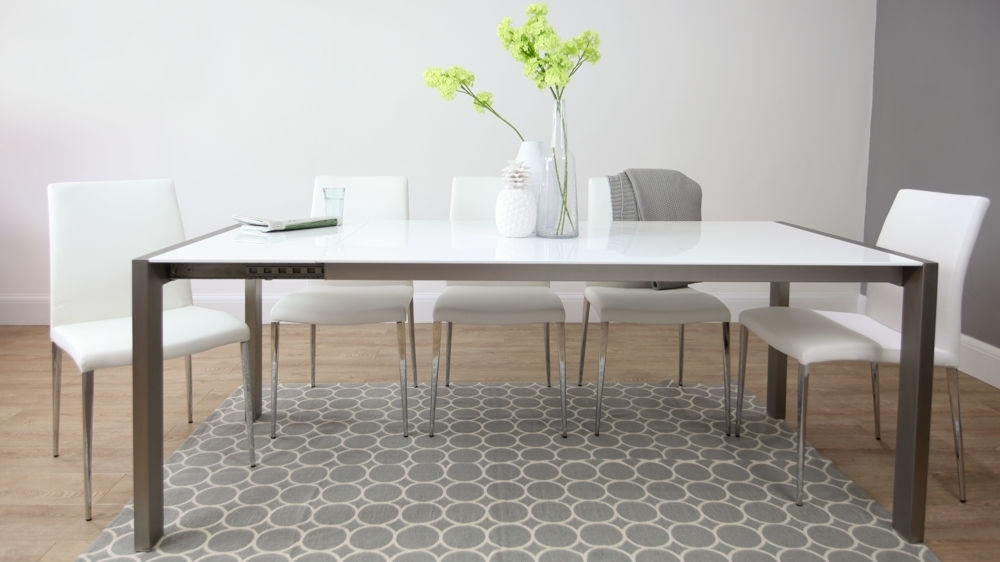 White High Gloss Extending Dining Table | Brushed Metal Legs | For White Gloss Extendable Dining Tables (Image 25 of 25)