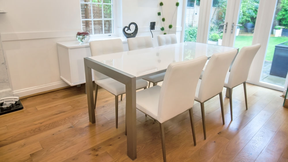 White High Gloss Extending Dining Table   Brushed Metal Legs   Pertaining To High Gloss Cream Dining Tables (Image 23 of 25)