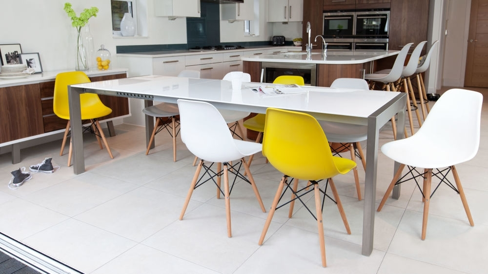 White High Gloss Extending Dining Table | Brushed Metal Legs | With Small White Extending Dining Tables (Image 25 of 25)