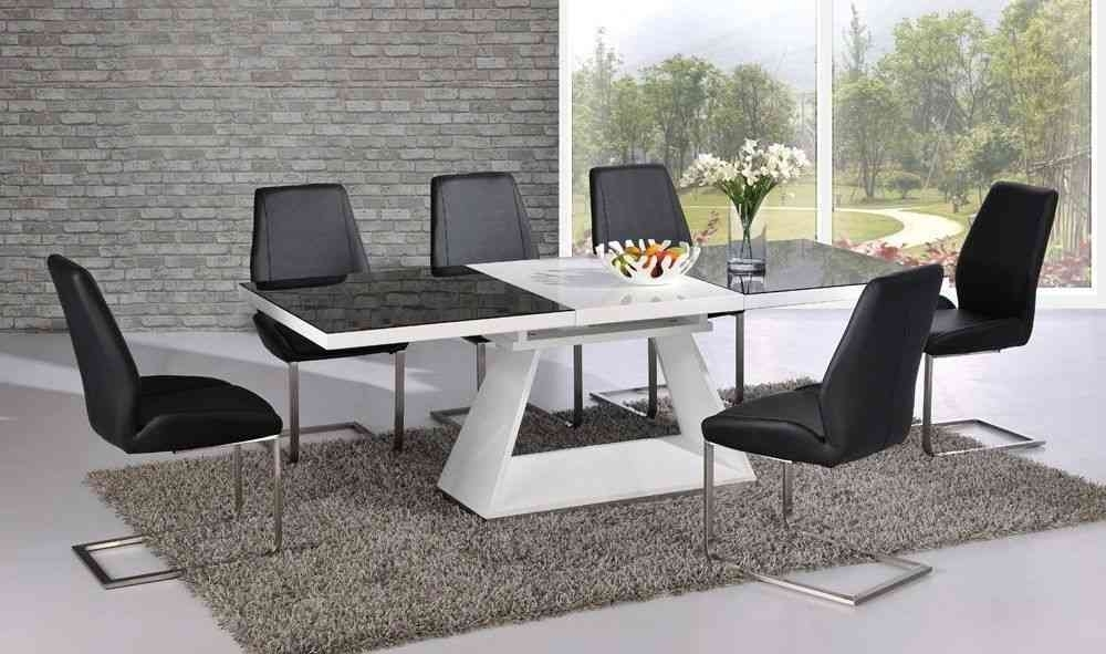 White High Gloss Extending Dining Table With 8 Chairs – Glass Top Pertaining To Black Glass Extending Dining Tables 6 Chairs (Image 25 of 25)