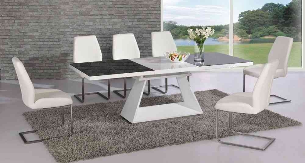 White High Gloss Extending Glass Dining Table And 6 Chairs For Black Gloss Dining Room Furniture (Image 24 of 25)