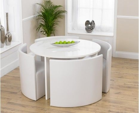 White High Gloss Round Dining Set Oslo White High Gloss Stowaway For Stowaway Dining Tables And Chairs (View 3 of 25)