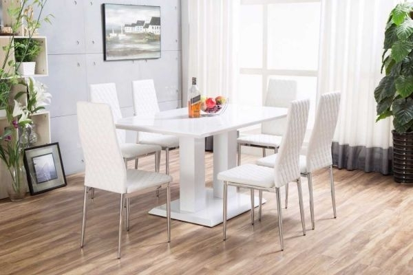 White Imperia High Gloss Dining Table Set   Furniturebox Within High Gloss Dining Room Furniture (Image 25 of 25)