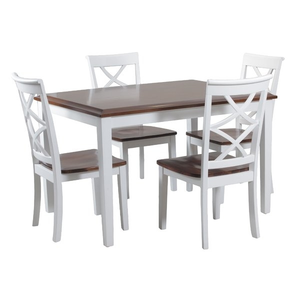 White Kitchen & Dining Room Sets You'll Love | Wayfair Intended For Laurent 7 Piece Rectangle Dining Sets With Wood Chairs (View 15 of 25)