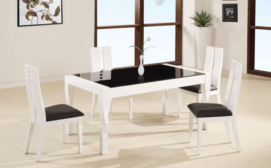 White Lacquer Teak Wood Dining Table Using Black Glass Top Placed On regarding Cream Lacquer Dining Tables