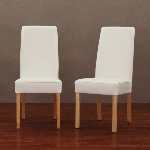 White Leather Chairs Modern Dining Chair Set Of 2 — The Home Throughout White Leather Dining Chairs (Image 20 of 25)