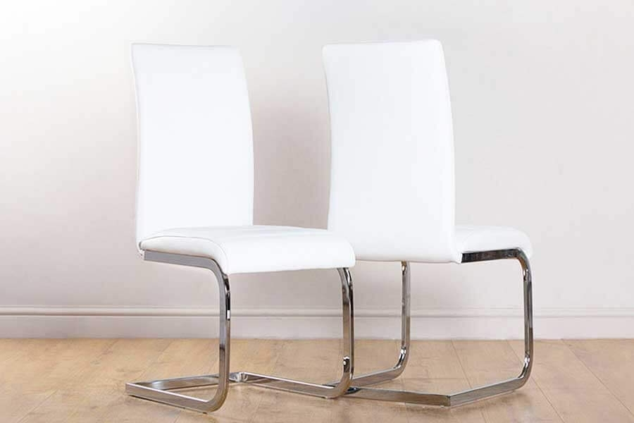 White Leather Dining Chairs | Furniture Choice With White Leather Dining Room Chairs (Image 22 of 25)