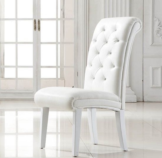 White Leather Dining Room Chairs Imposing Stella Studded Faux Chair Intended For White Leather Dining Room Chairs (View 3 of 25)