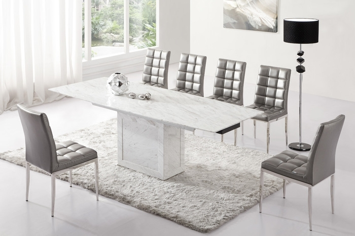 White Marble Dining Table Dining Room Furniture – Domainmichael Intended For Extending Marble Dining Tables (Image 22 of 25)