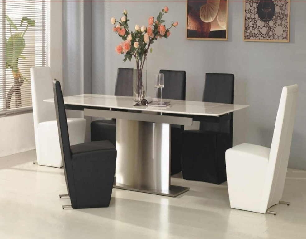 White Marble Dining Table Modern — Temeculavalleyslowfood Regarding White Melamine Dining Tables (View 2 of 25)