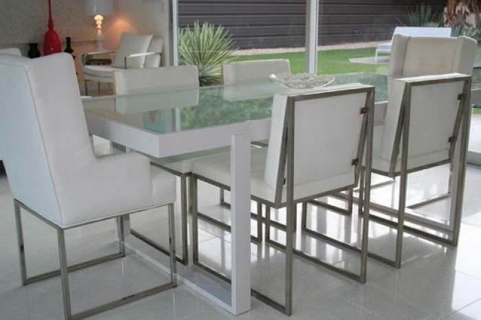 White Metal And Frosted Glass Dining Table | New Office | Pinterest With Smoked Glass Dining Tables And Chairs (View 14 of 25)