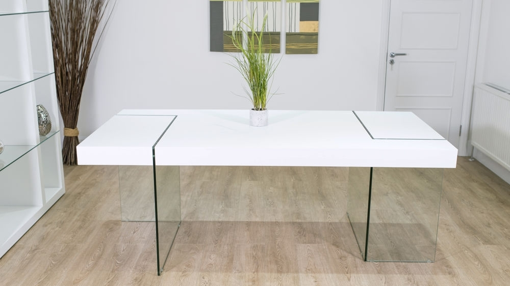 White Oak Dining Table  Clear Glass Legs   Seats 6 – 8   Uk Within Glass Dining Tables With Oak Legs (Image 25 of 25)