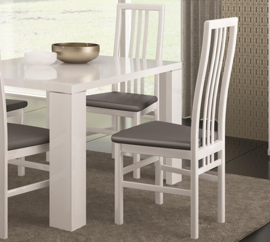 White Or Black High Gloss Modern Dining Chairs With Grey Faux With Regard To High Gloss Dining Chairs (Image 25 of 25)