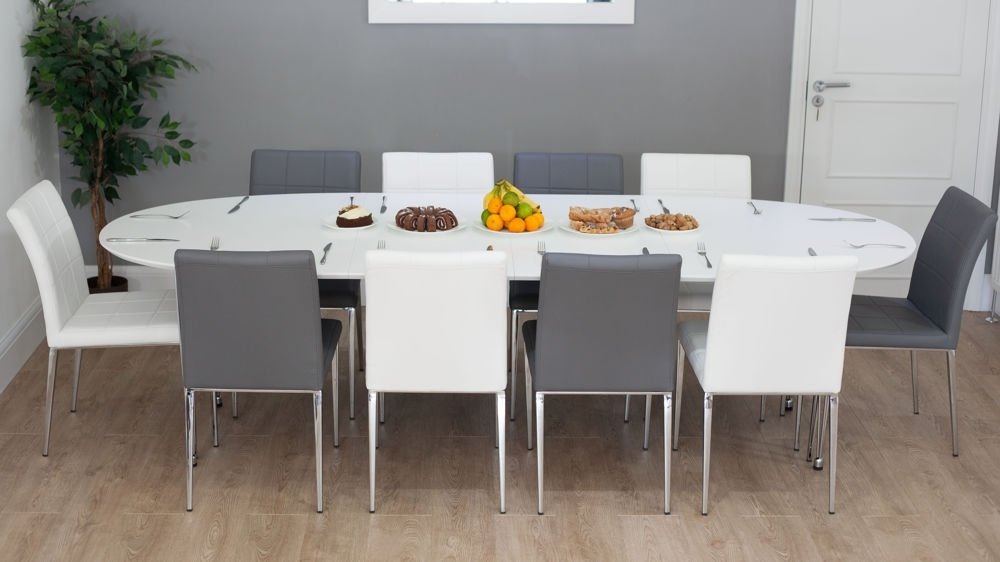 White Oval Extending Dining Table   Quilted Faux Leather Dining Chairs Pertaining To Extendable Dining Tables Sets (View 7 of 25)
