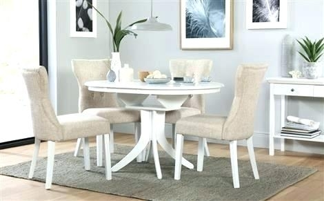 White Round Extending Dining Table – Emilytocco Throughout Round Extending Dining Tables And Chairs (Image 25 of 25)