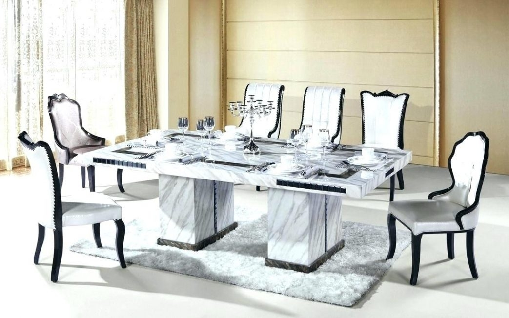 White Square Dining Table And Chairs Marble Rectangle Top Set 8 Room Within Extending Marble Dining Tables (Image 23 of 25)