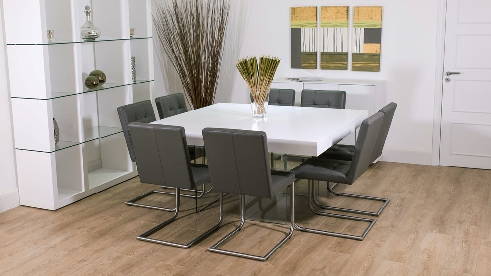 White Square Dining Table For 8 | White Oak Dining Table In Dining Tables For  (Image 24 of 25)