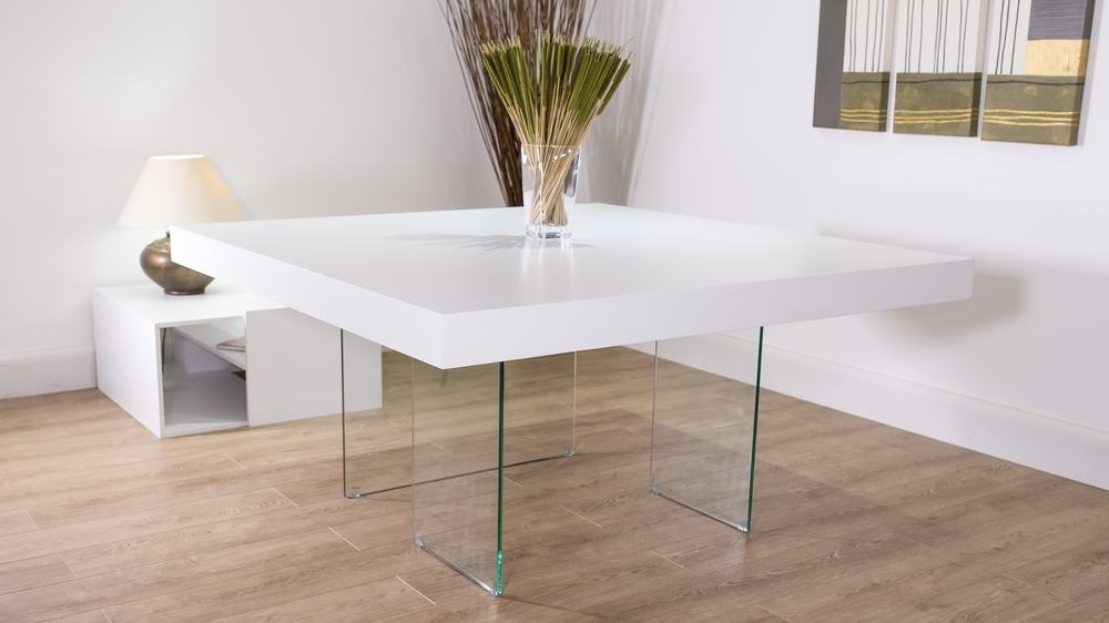 White Square Dining Table For 8 | White Oak Dining Table throughout White Dining Tables 8 Seater