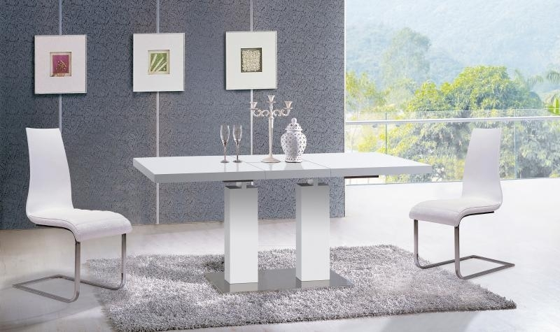 White Ultra Modern Dining Table W/extension Contemporary At Home Usa Throughout Delfina Dining Tables (Image 23 of 25)