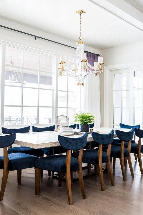 White Wood Dining Table With Blue Velvet Dining Chairs With Regard To Blue Dining Tables (Image 23 of 25)