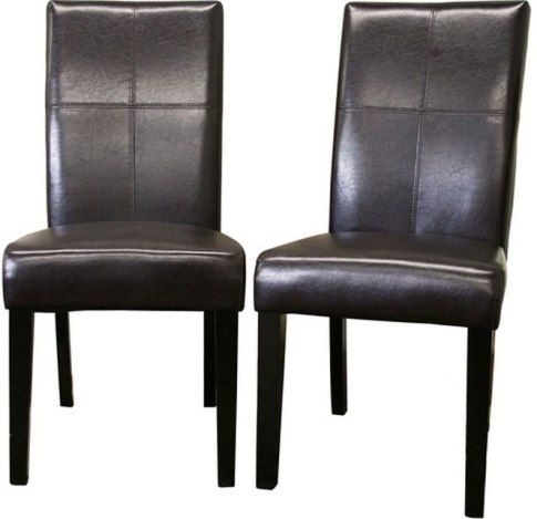Wholesale Interiors 2366 Brn Hail Leather Dining Chairs Set Of Two For Dark Brown Leather Dining Chairs (Image 25 of 25)