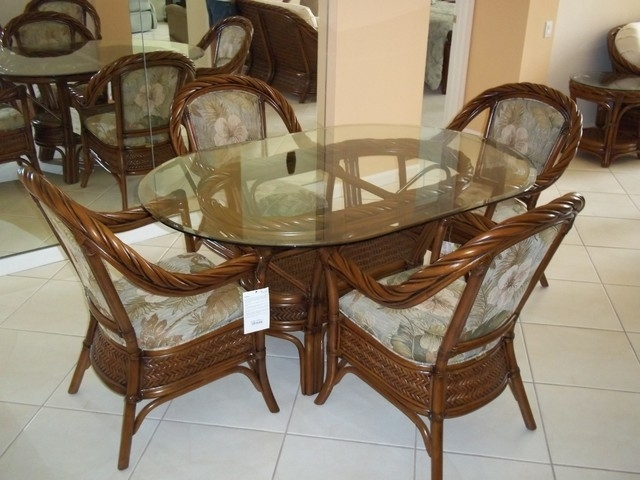 Wicker Glass Top Dining Wicker And Glass Dining Table Nice 8 Seater Within Wicker And Glass Dining Tables (Image 24 of 25)