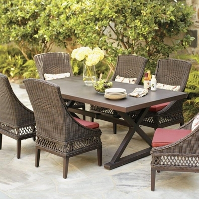 Wicker Patio Furniture Sets – The Home Depot With Regard To Outdoor Dining Table And Chairs Sets (View 6 of 25)