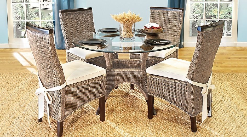 Wicker Table And Chair Home Design And Ideas | Groundswellplayers Regarding Rattan Dining Tables And Chairs (Image 25 of 25)