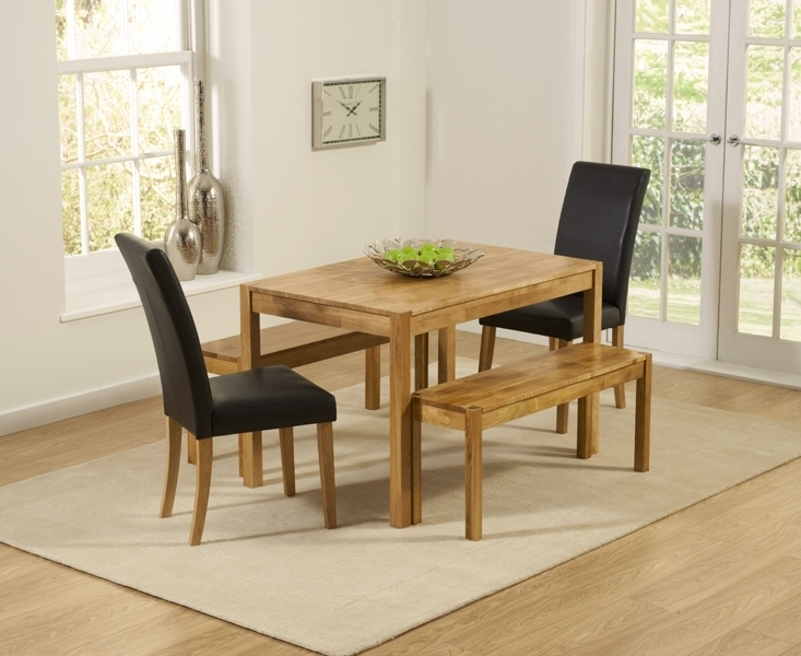 Wickford Solid Oak 120Cm Dining Set With 2 Urbano Black Faux Leather Regarding Dining Tables And 2 Benches (Image 24 of 25)