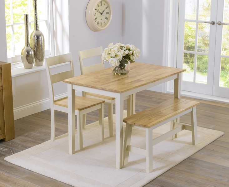 Widnes Oak And Cream 115Cm Dining Set With 2 Chairs And Bench In Dining Tables And 2 Chairs (Image 25 of 25)