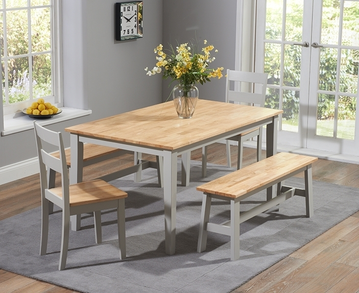 Widnes Oak And Grey 150Cm Dining Set With 2 Chairs And 2 Benches Inside Dining Tables And 2 Benches (Image 25 of 25)
