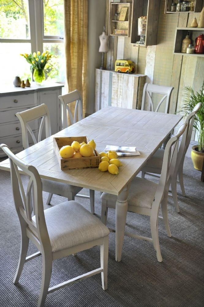 Wiltshire French Grey Extending Dining Table & Six Chairs Inside Dining Tables And Six Chairs (Image 24 of 25)