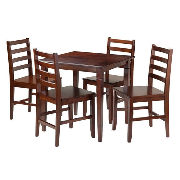 Winsome Wood 5 Pc Dining Table With 4 Hamilton Ladder Back Chairs Intended For Hamilton Dining Tables (Image 25 of 25)