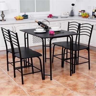 Winston Porter Ephraim 5 Piece Dining Set In 2018 | Products In Jaxon 5 Piece Extension Counter Sets With Wood Stools (Image 25 of 25)