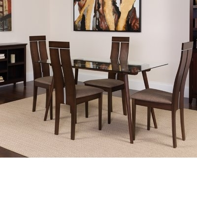 Winston Porter Humiston 5 Piece Solid Wood Dining Set In 2018 Throughout Craftsman 9 Piece Extension Dining Sets With Uph Side Chairs (View 6 of 25)
