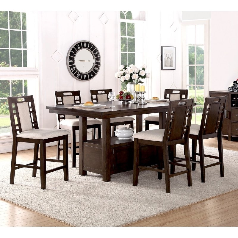 Winston Porter Nika 7 Piece Counter Height Dining Set & Reviews With Candice Ii 7 Piece Extension Rectangular Dining Sets With Uph Side Chairs (View 6 of 25)