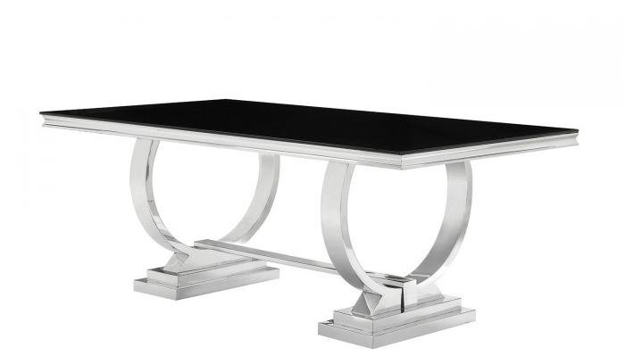 Wokiq Black Tempered Glass Chrome Dining Table With Regard To Chrome Dining Tables (Image 25 of 25)