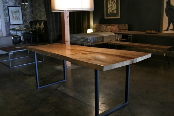 Wonderful Rustik Modern Wood Metal Dining Table Within Wood And Intended For Dining Tables With Metal Legs Wood Top (View 6 of 25)