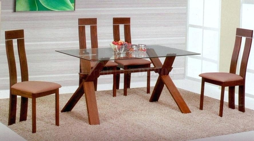 Wood And Glass Dining Table Room Top Wooden Set Popular Of With In Wooden Glass Dining Tables (Image 24 of 25)