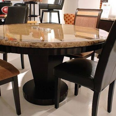 Wood And Granite Stone Dining Table Set In Round Shape | Table In With Regard To Stone Dining Tables (View 2 of 25)
