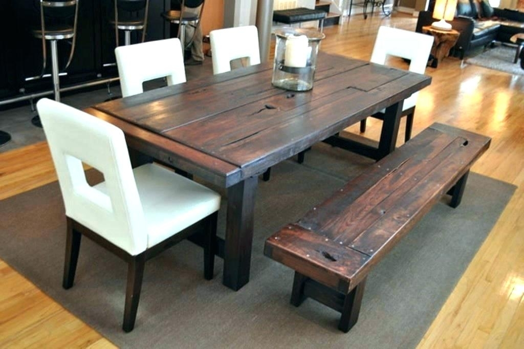 Wood Dining Table With Bench – Hepsy Intended For Bale Rustic Grey Dining Tables (View 10 of 25)