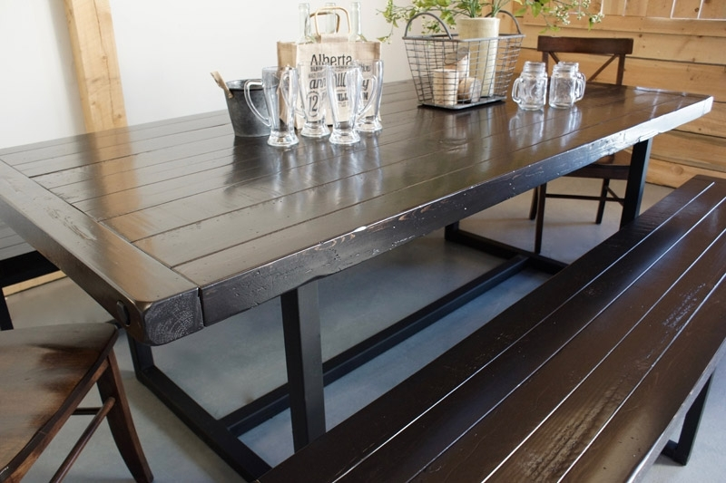 Wood & Iron Dining Table In Calgary, Alberta / Liken Woodworks Inside Iron And Wood Dining Tables (Image 21 of 25)