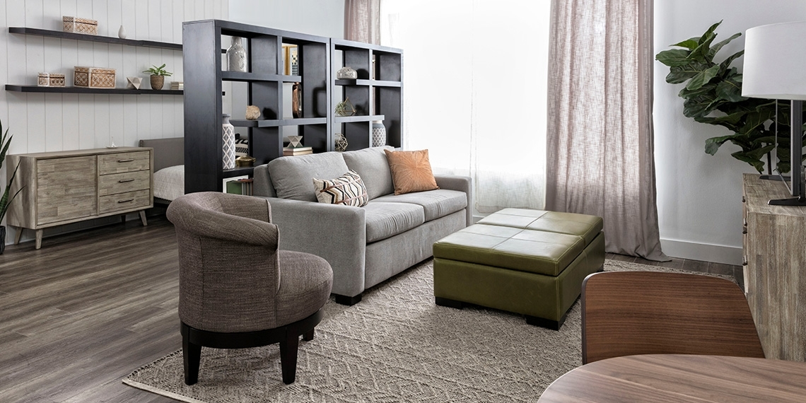 Wood Modern Small Space With Mackenzie Sofa Sleeper | Living Spaces Regarding Carly 3 Piece Triangle Dining Sets (Image 25 of 25)
