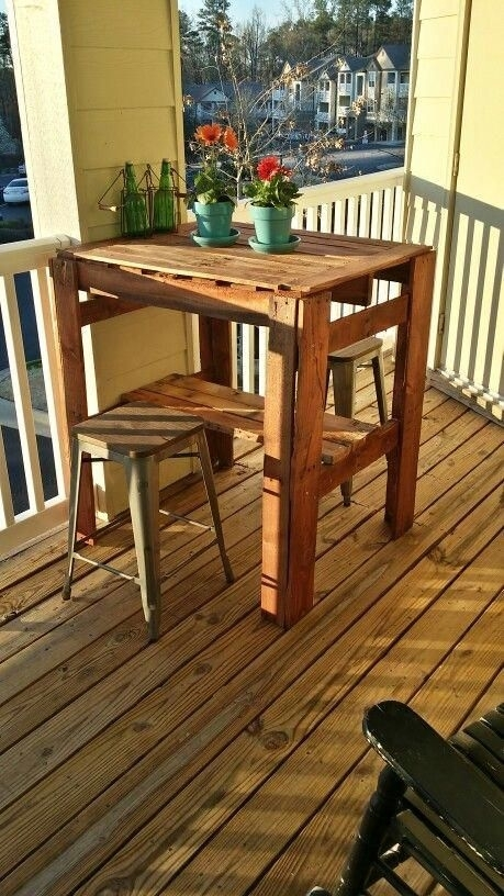 Wood Pallet High Top Table #hightoptablesdiy | High Top Tables Ideas Within Norwood 9 Piece Rectangular Extension Dining Sets With Uph Side Chairs (Image 25 of 25)