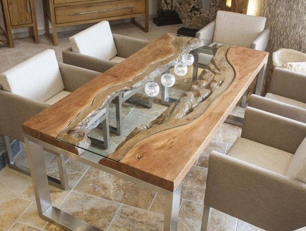 Wood Slab Dining Table Designs Glass Wood Metal Modern Dining Room Inside Modern Dining Room Furniture (View 22 of 25)