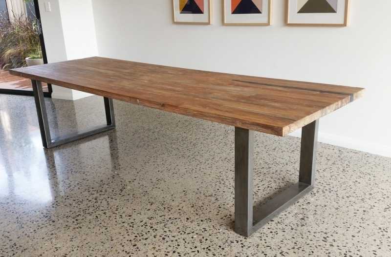 Wood Table With Metal Legs Intended For Really Encourage Inside Dining Tables With Metal Legs Wood Top (Image 23 of 25)